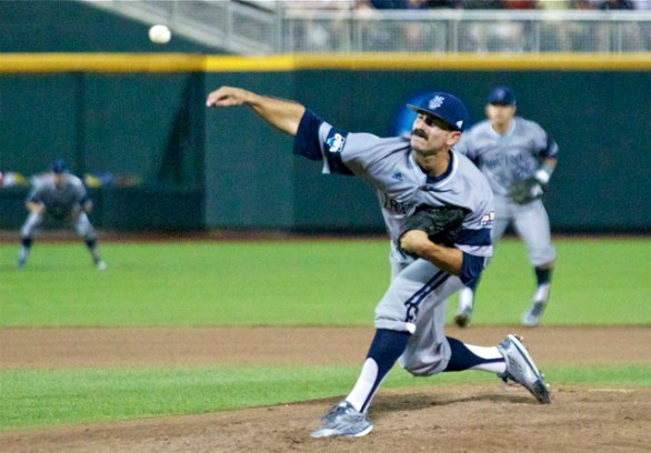 Evan Brock pitches in relief. (Photo: Shotgun Spratling)