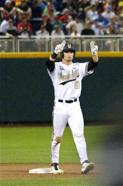 Rhett Wiseman signals to the dugout after a double. (Photo: Shotgun Spratling)