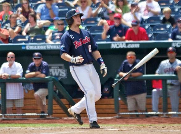 Austin Anderson tosses the bat after a walk. (Photo: Shotgun Spratling)