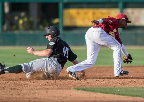 Jordan Richartz swipes second base. (Photo: Mark Alexander)