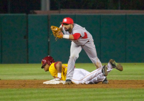 Frankie Ratcliff shows the ball after the tag.