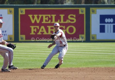 Casey Rodrigue makes a back-handed play up the middle.
