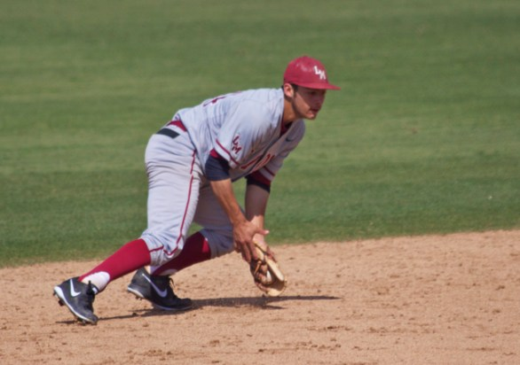 David Fletcher makes a play at shortstop.