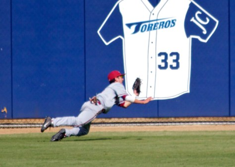 Austin Miller makes a great diving catch in right-centerfield.