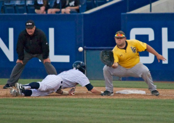 Ino Patron takes the pickoff attempt.