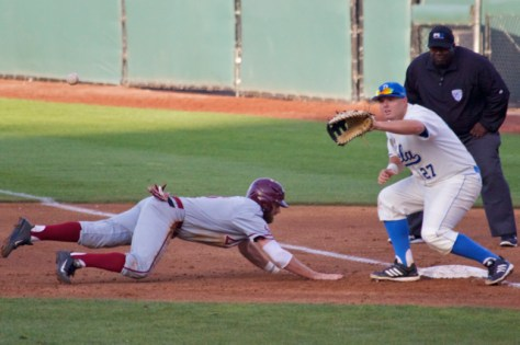 Pat Gallagher takes the pickoff attempt. (Photo: Shotgun Spratling)