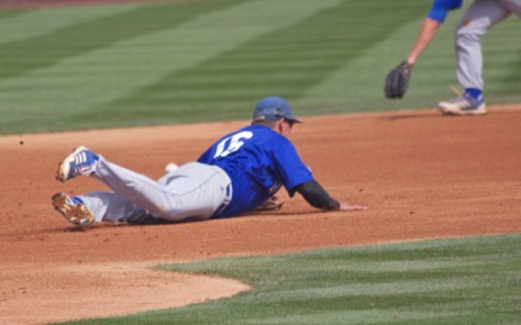 The ball goes just under Cody Hough's diving attempt. (Photo: Shotgun Spratling)