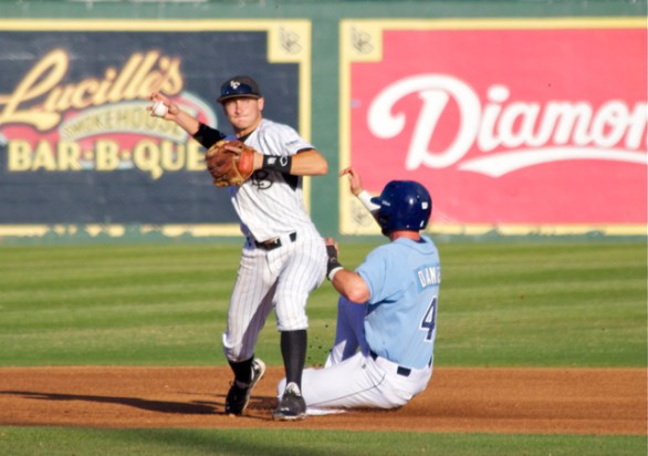Garrett Hampson tries to turn a double play. (Photo: Shotgun Spratling)