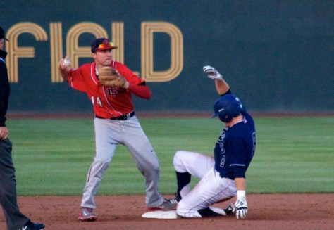Evan Potter turns the double play. (Photo: Shotgun Spratling)