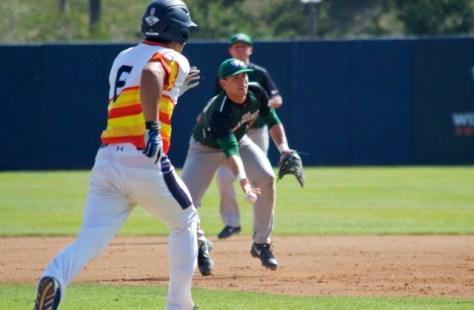 Zack Turner flips to the pitcher covering. (Photo: Shotgun Spratling)