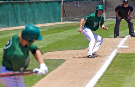 Zack Zehner leads off third base. (Photo: Shotgun Spratling)