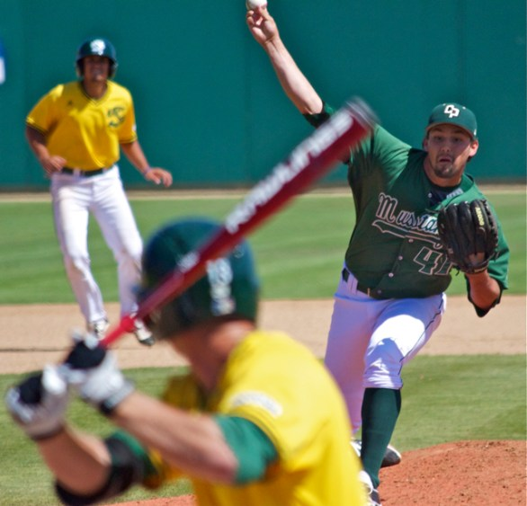 Reed Reilly got the Mustangs out of a jam in the seventh inning. (Photo: Shotgun Spratling)
