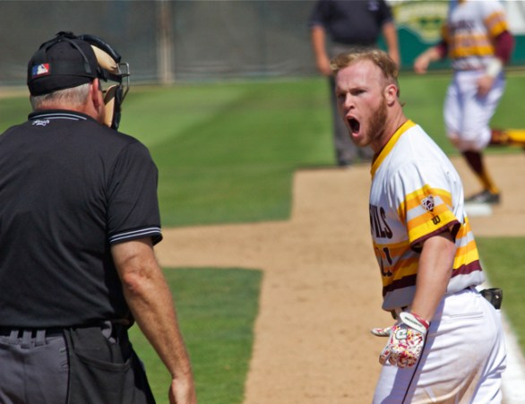 Jake Peevyhouse screams at the home plate umpire after a call. (Photo: Shotgun Spratling)