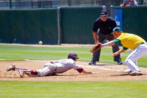 Johnny Sewald nearly gets picked off. (Photo: Shotgun Spratling)