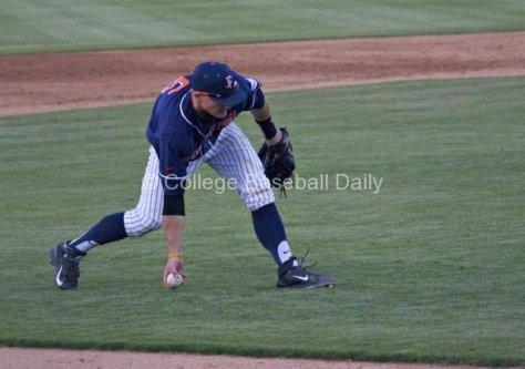 Matt Chapman makes a bare-handed play on a bunt.