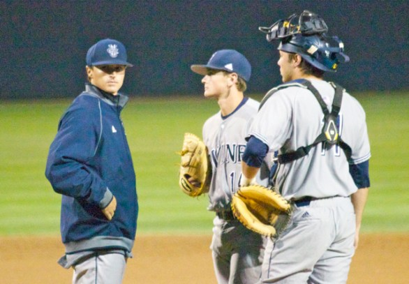 Pitching coach Daniel Bibona looks for answers. (Photo: Shotgun Spratling)
