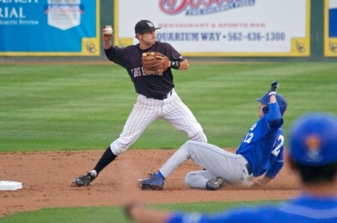 Garrett Hampson turns one of three Dirtbag double plays. (Photo: Shotgun Spratling)