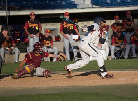 Austin Davidson hits a walk-off single up the middle. (Photo: Mark Alexander)