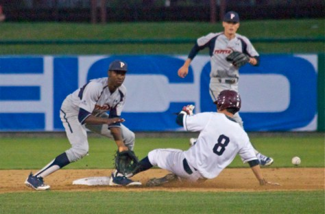 Austin Miller swipes 2B before Manny Jefferson can get the tag. (Photo: Shotgun Spratling)