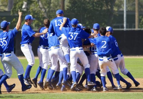 UC Santa Barbara celebrates the walk-off win.