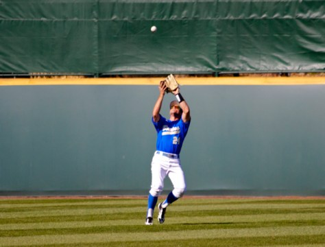 Brian Carroll catches a fly ball.