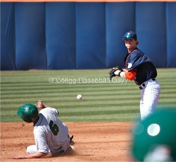 Keegan Dale drops the ball as he tries to turn a double play
