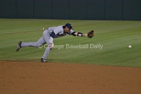Jake Jefferies can't get to a ball.