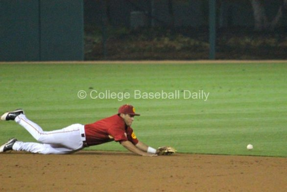 Frankie Rios' diving attempt comes up short.