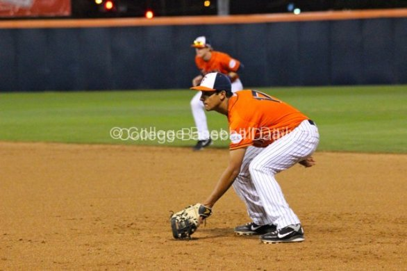 Carlos Lopez awaits the pitch at first.