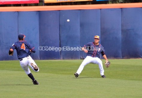 Clay Williamson lets a ball fall in front of him.