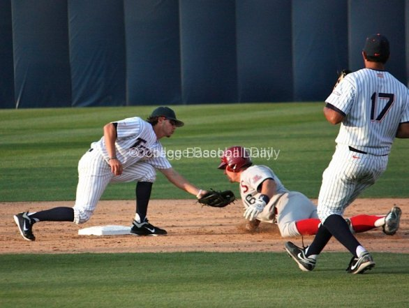 Alex Guthrie is tagged out after getting picked off 1B