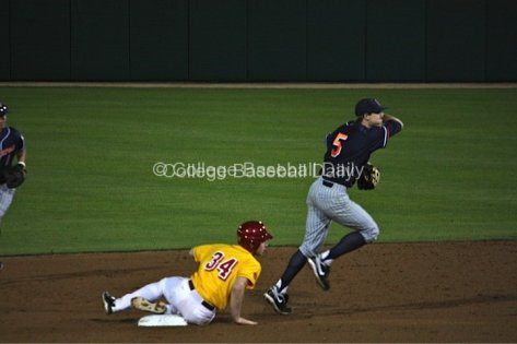 Keegan Dale turns a double play.
