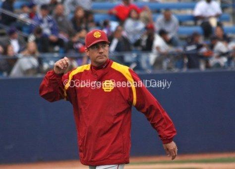 Pitching coach Dan Hubbs looks down to the bullpen.