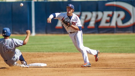 Michael Perri turns the double play. (Photo: Mark Alexander)