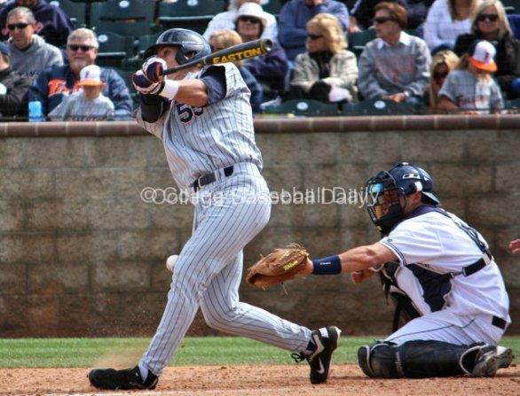 Michael Lorenzen takes a bad swing.