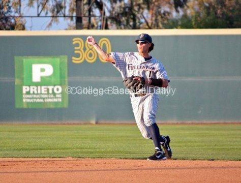 Matt Orloff throws to first base.