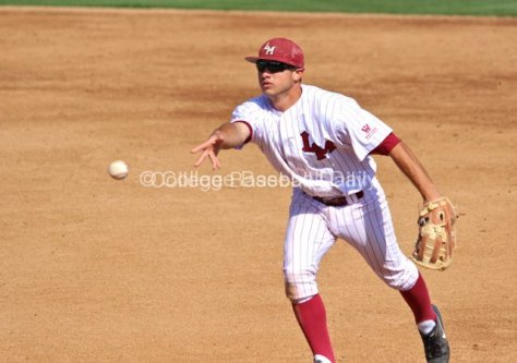 Tommy Cheek flips to a covering pitcher.