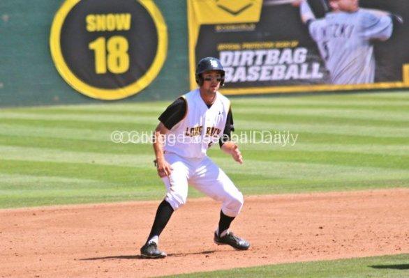Jeff Yamaguchi leads off of second base.a