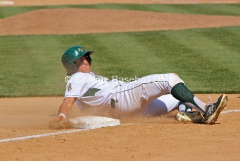 Nick Torres slides into third base.
