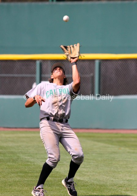 Nick Torres catches a fly ball in right field.