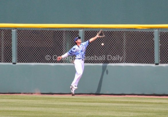 AJ Robinson can't make a leaping catch at the wall.