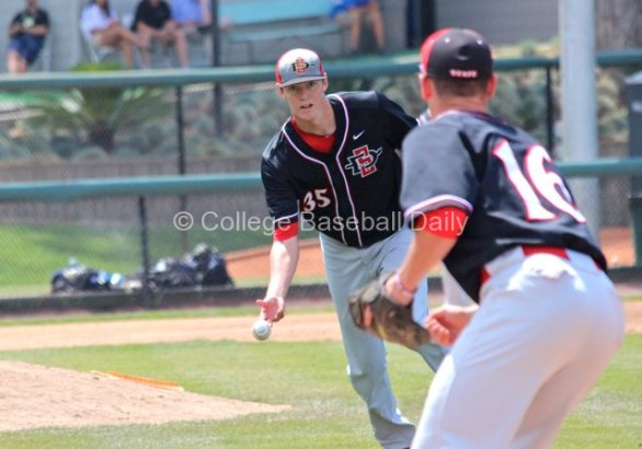 Michael Cederoth flips to first base.