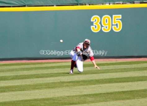 Craig Aikin makes a diving catch.