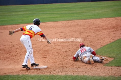 Miles Silverstein points out that Garrett Carey was off the bag