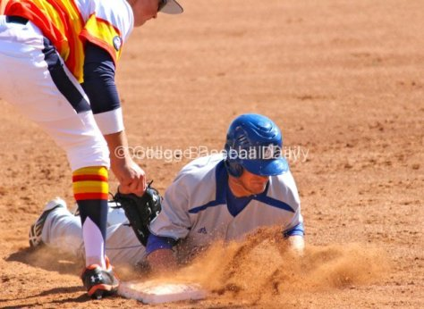 Scott Kalamar dives back into first base.