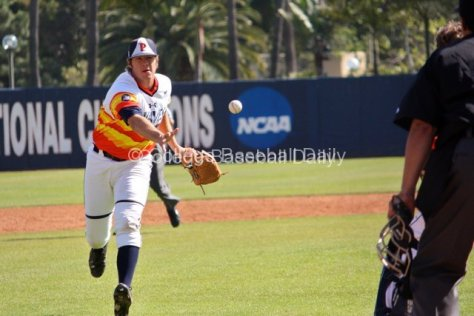 Eric Karch flips the ball home to nail a runner on a squeeze play.
