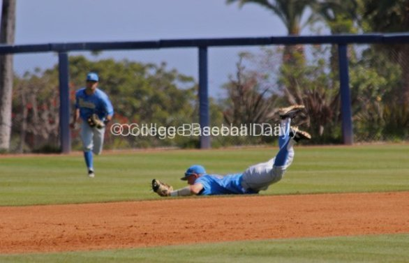 Pat Valaika makes a diving catch.