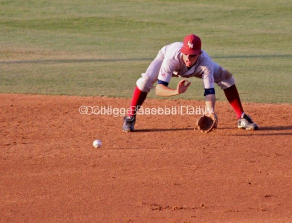 Cullen Mahoney stays down on a grounder.