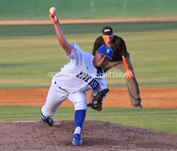 Mitch Patito pitches for Riverside.