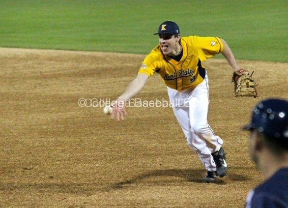 Zarley Zalewski flips to the pitcher.